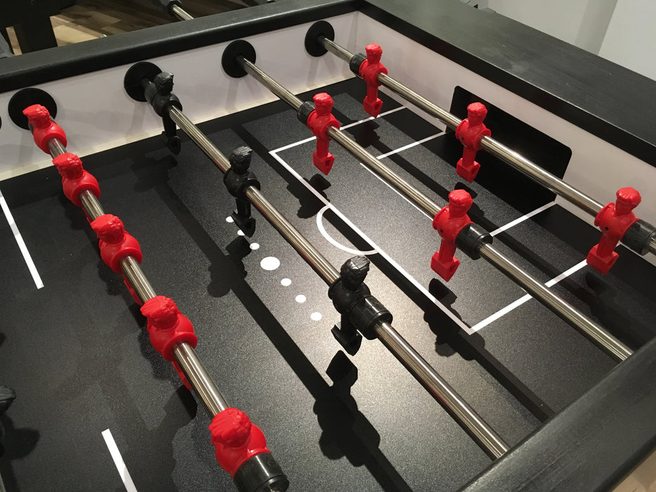 Modern Foosball Table Brushed Aluminum playfield