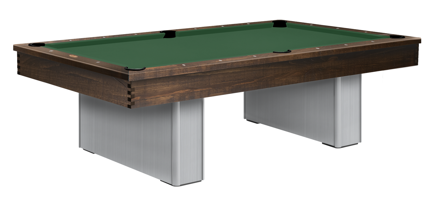 Monarch pool table brushed aluminum with rustic pine rails