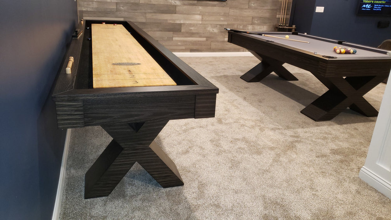 Olhausen Encore Shuffleboard Table and pool table charcoal finish