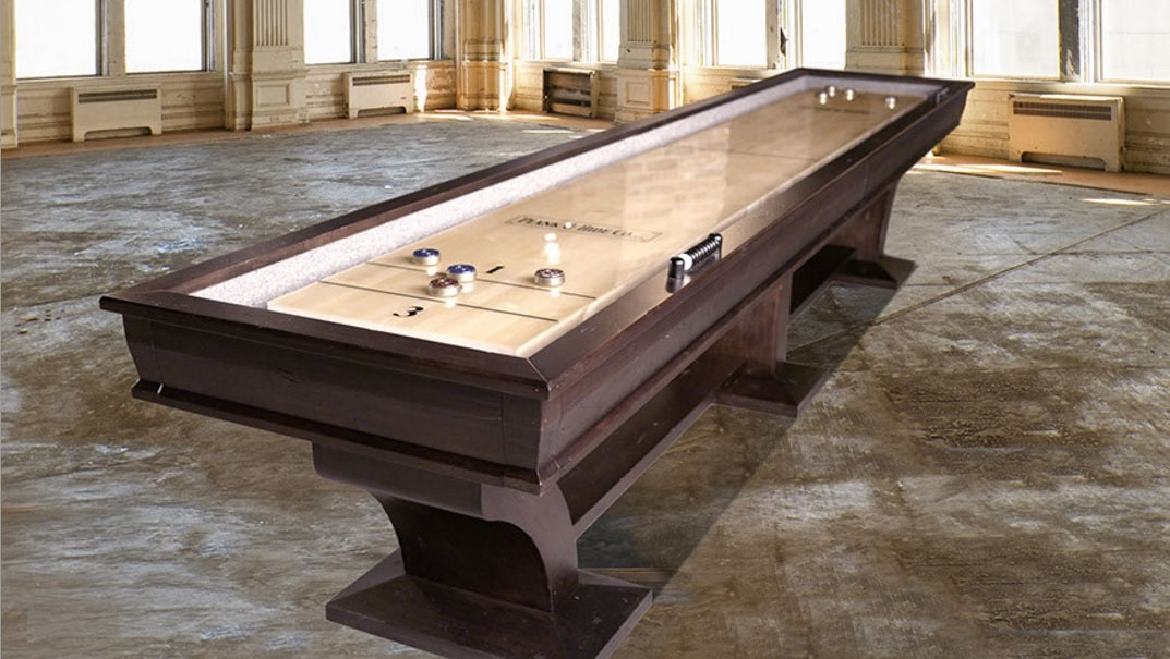 Plank and Hide Paxton Shuffleboard Table room setting