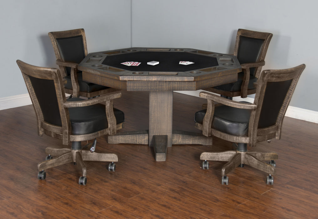 Rustic Poker Table Set Plank and Hide