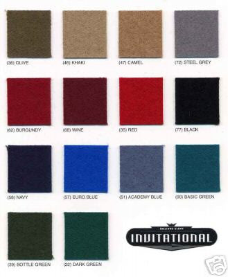 Standard Pool Table Cloth Color Options