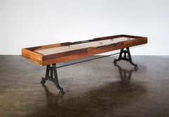 Restoration Style Iron and Wood Shuffleboard Table 9'