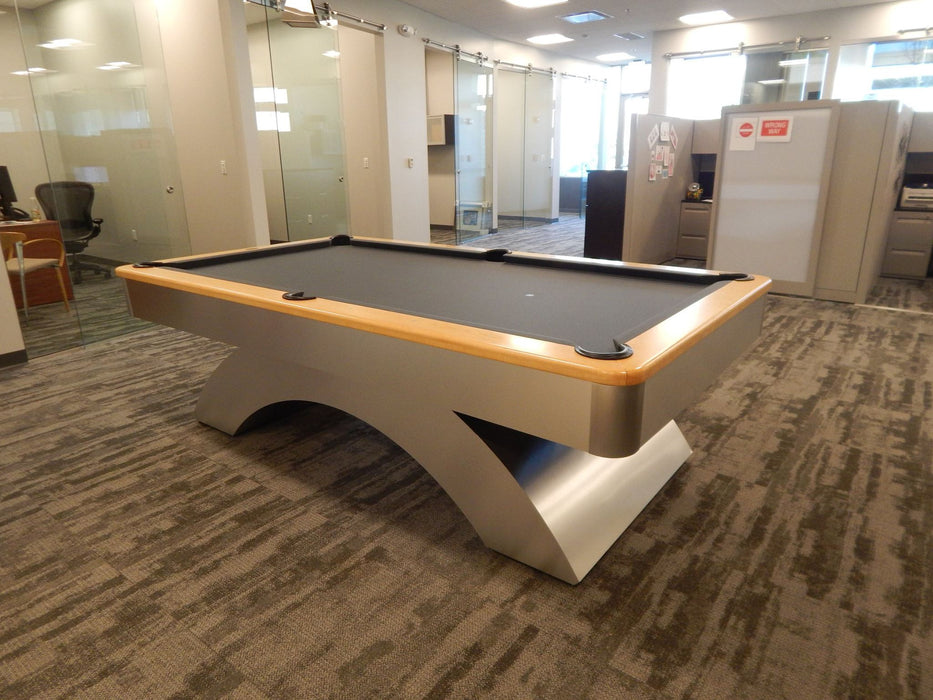olhausen waterfall pool table aluminum with natural maple 2