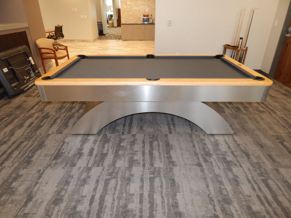 olhausen waterfall pool table aluminum with natural maple