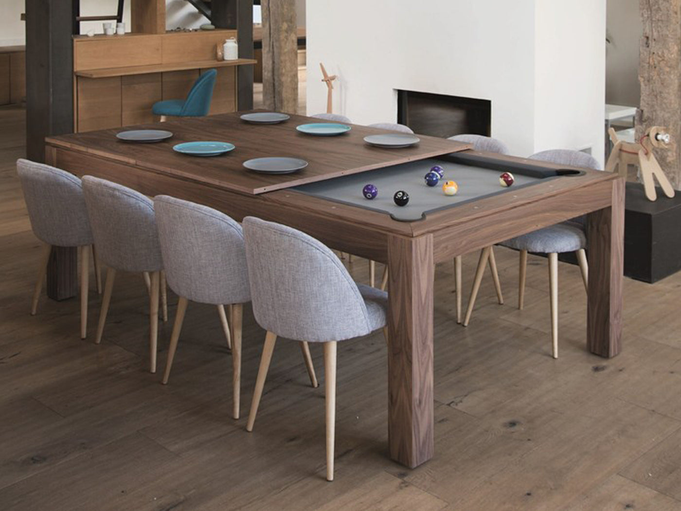 Delicieux Fusion Wood Line Dining Pool Table Walnut ...