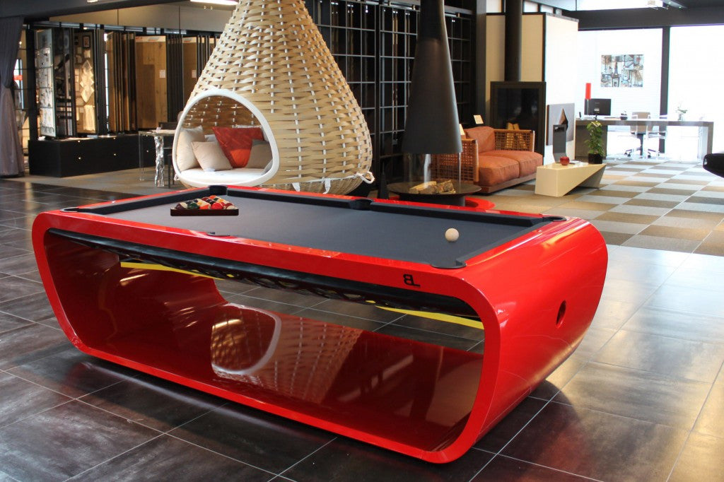 black light pool table red