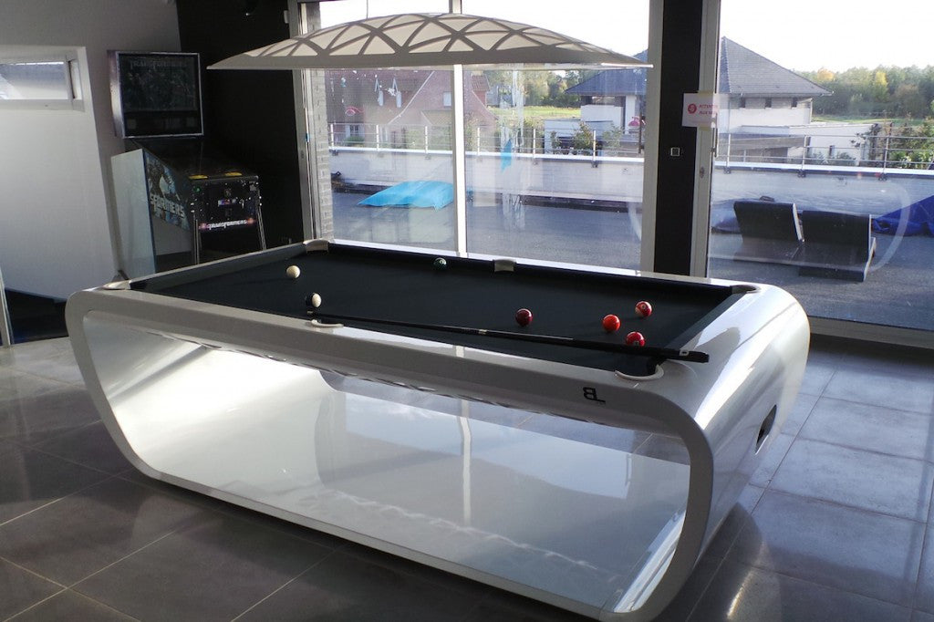 black light pool table white