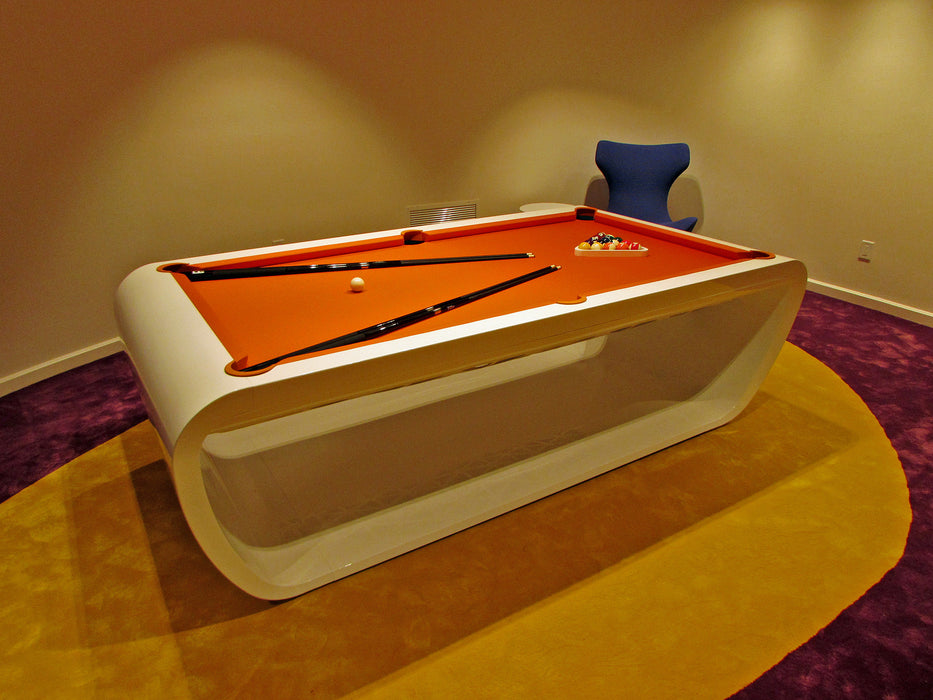 billard toulet black light pool table white with orange cloth
