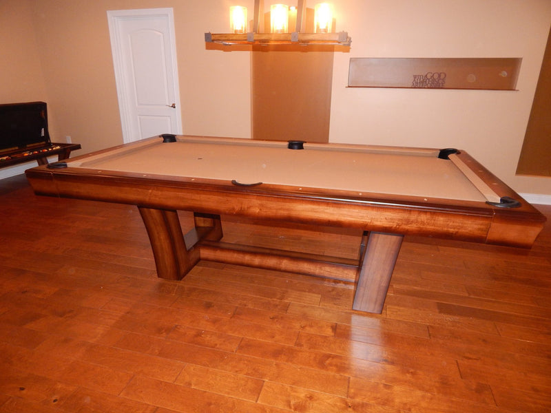 california house city pool table hi low finish side view