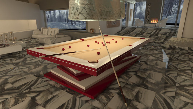 ziggurat pool table red and white base