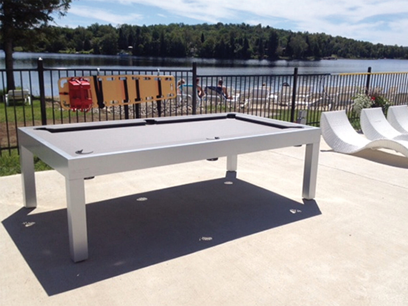 Canada Billiard Storm Outdoor Pool Table White ...
