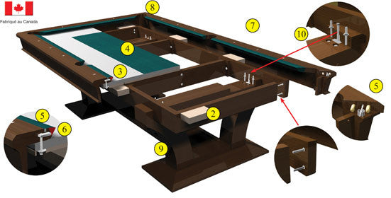 La Condo Devine Dining Pool Table construction
