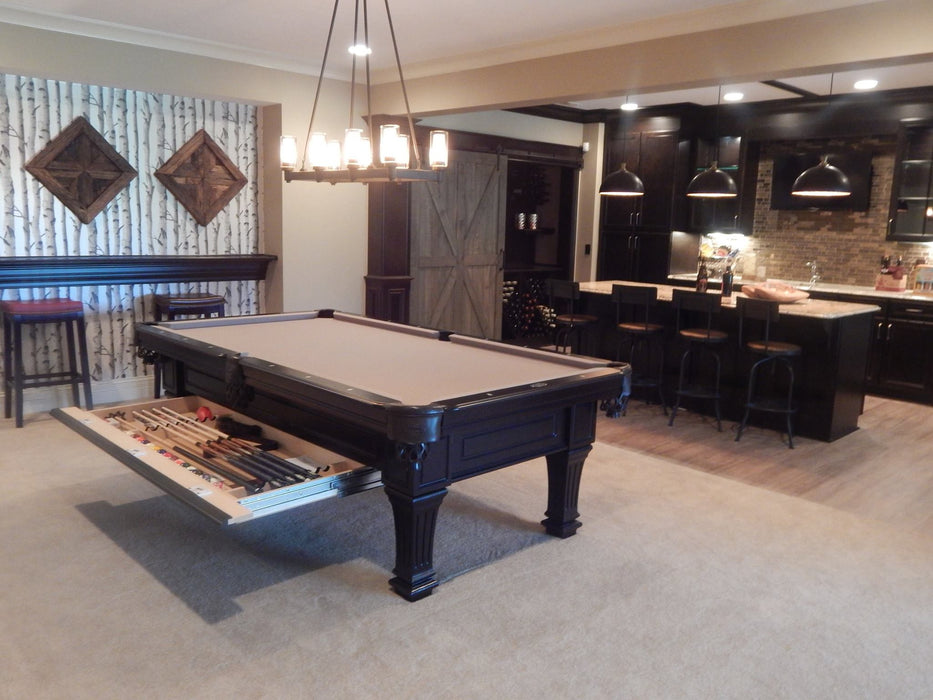 Hampton with drawer pool table matte slate