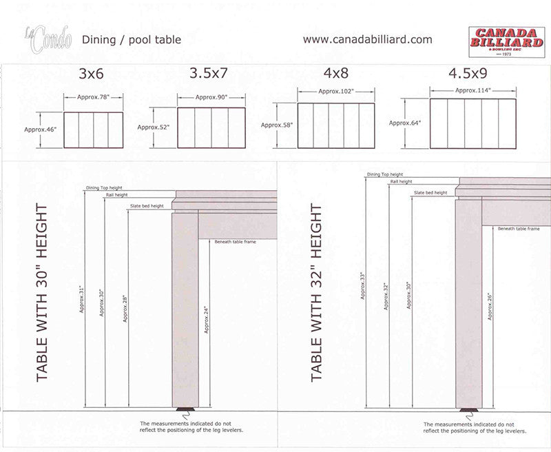 Canada Billard La Condo Dining Pool Table measurements