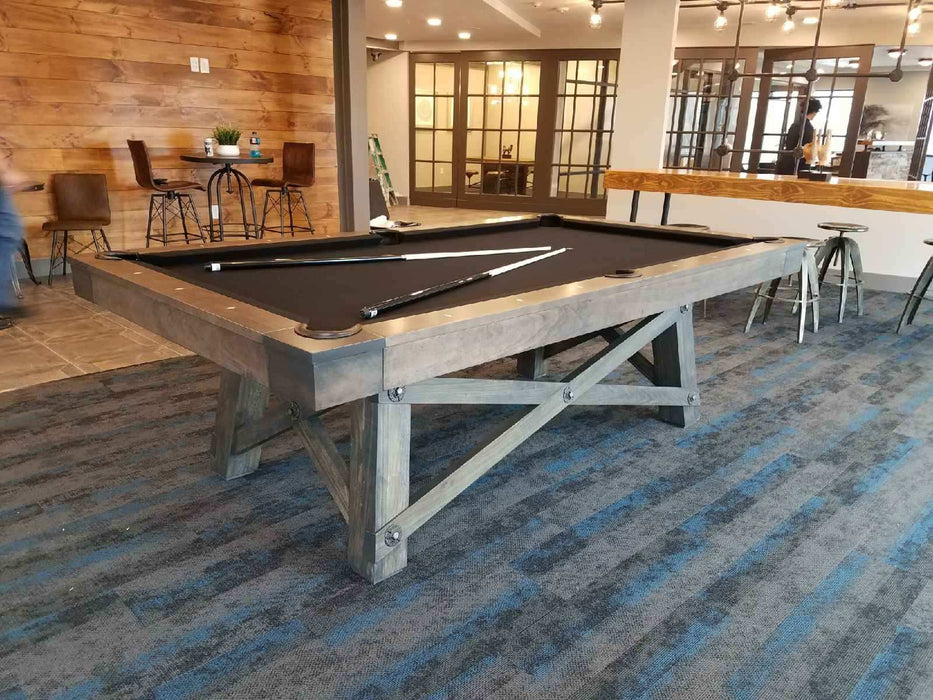 california house loft pool table driftwood finish