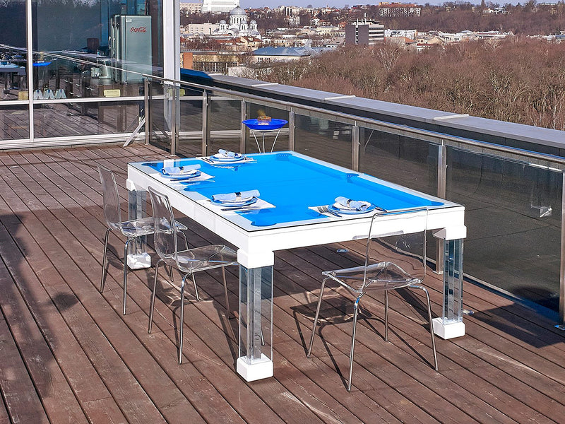 Monte-Carlo Dining Pool Table white lacquer