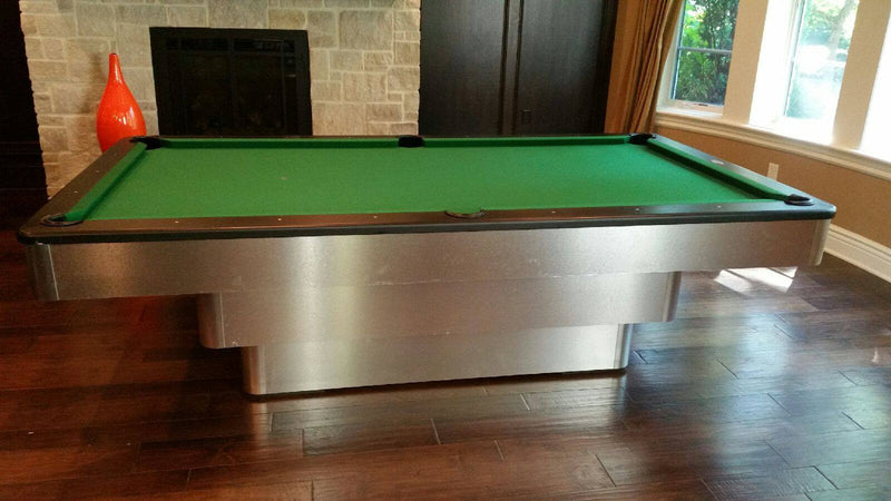 olhausen maxim pool table brushed aluminum green top