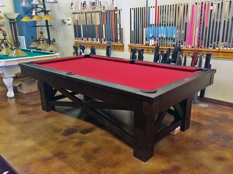 mccormick pool table rustic brown showroom