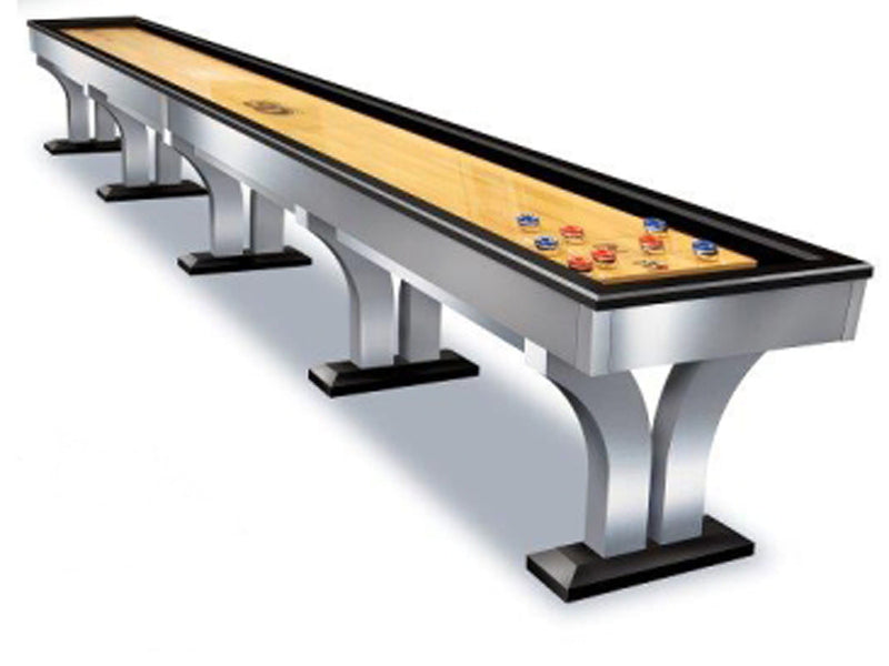 Olhausen Alexandria Shuffleboard Table brushed aluminum