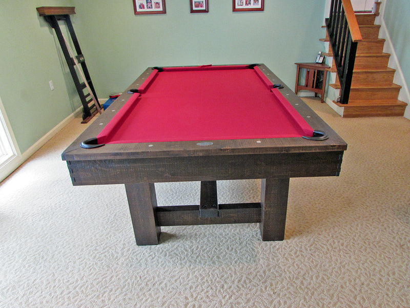 breckenridge pool table dark brown end leg detail