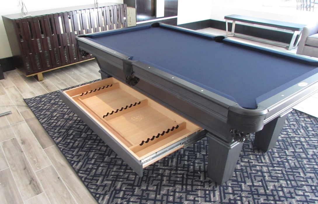 Olhausen classic pool table slate grey finish drawer open