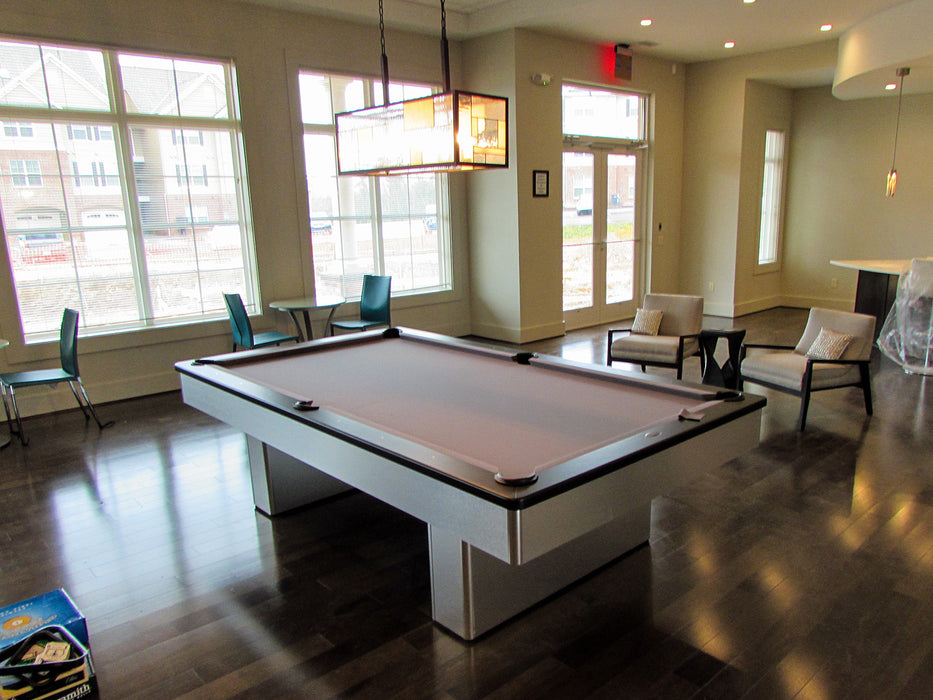 monarch pool table brushed aluminum room