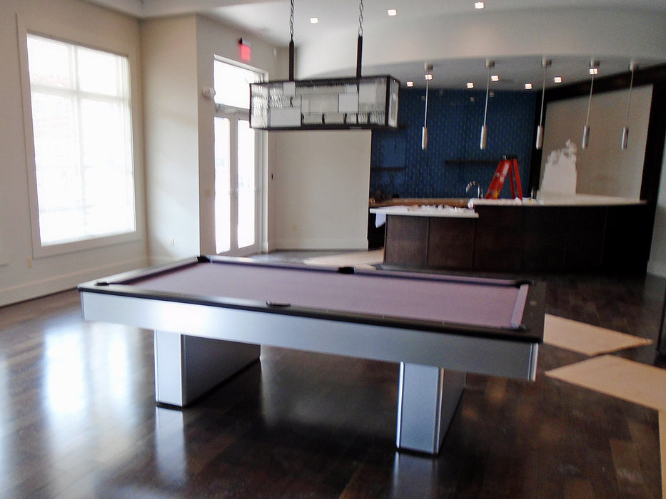 olhausen monarch pool table brushed aluminum