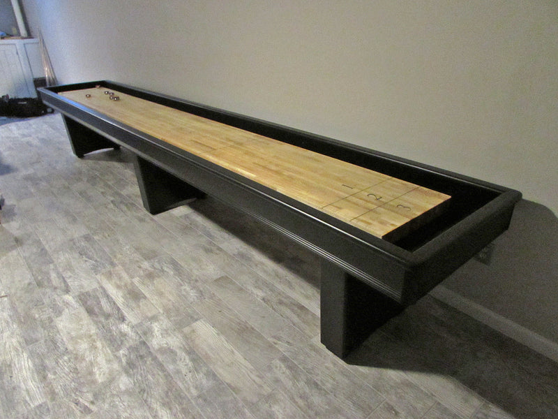york shuffleboard table 16' in matte black lacquer