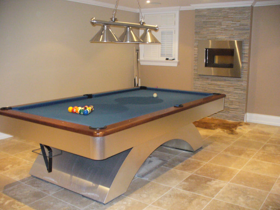 waterfall pool table home game room