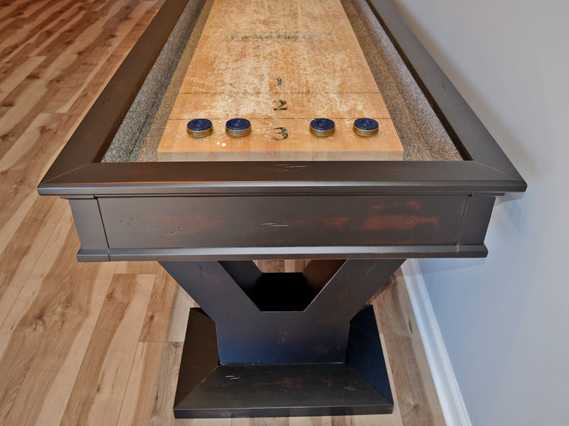 plank and hide gaston shuffleboard table end detail