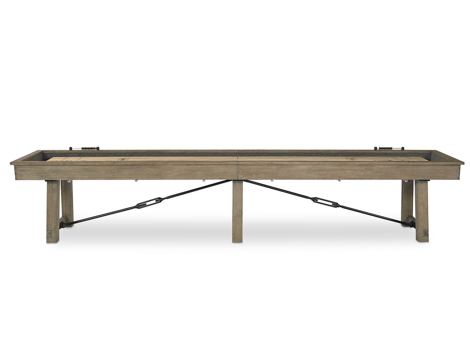 plank and hide isaac shuffleboard table side view stock