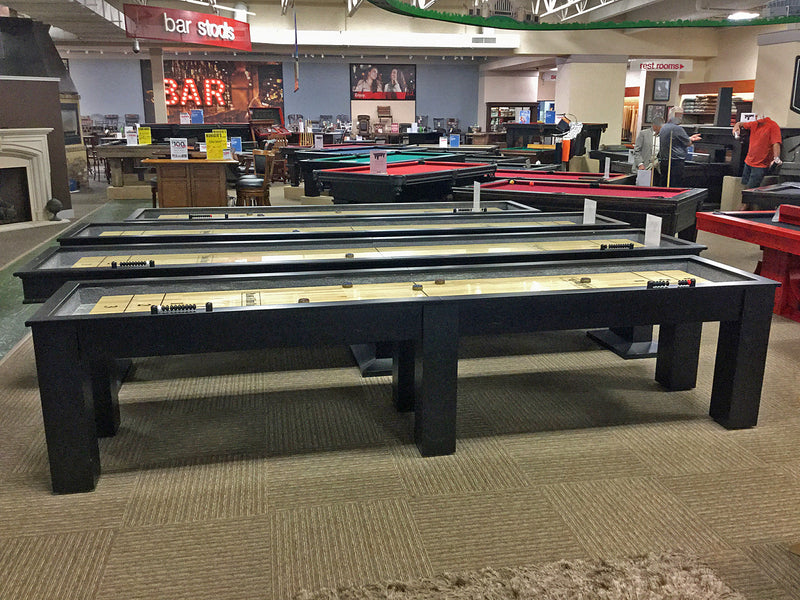 parsons shuffleboard table black side view