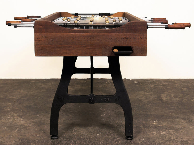 restoration style iron foosball table end