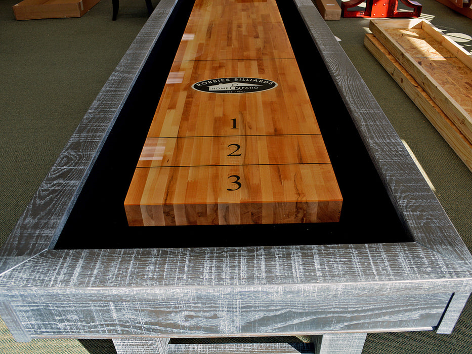 Taos shuffleboard table custom finish end
