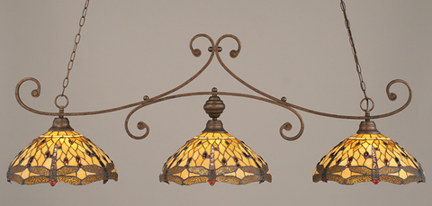 Toltec Lighting 353-BRZ-946 Bronze Curl Billiard w/ Amber Dragonfly Tiffany Glass