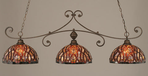 Toltec Lighting 353-BRZ-991 Bronze Curl Billiard w/ Persian Nite Tiffany Glass