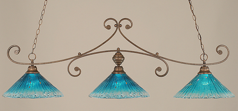 Toltec Lighting 353-BRZ-715 Bronze Curl Billiard w/ Teal Crystal Glass