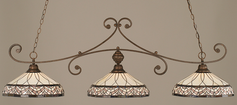 Toltec Lighting 353-BRZ-948 Bronze Curl Billiard w/ Royal Merlot Tiffany Glass