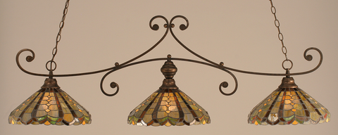 Toltec Lighting 353-BRZ-987 Bronze Curl Billiard w/ Paradise Tiffany Glass
