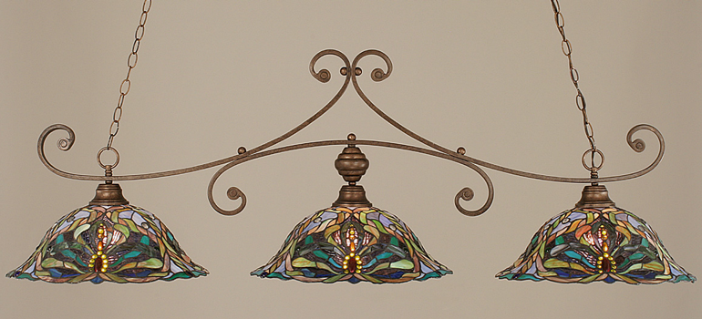 Toltec Lighting 353-BRZ-990 Bronze Curl Billiard w/ Kaleidoscope Tiffany Glass