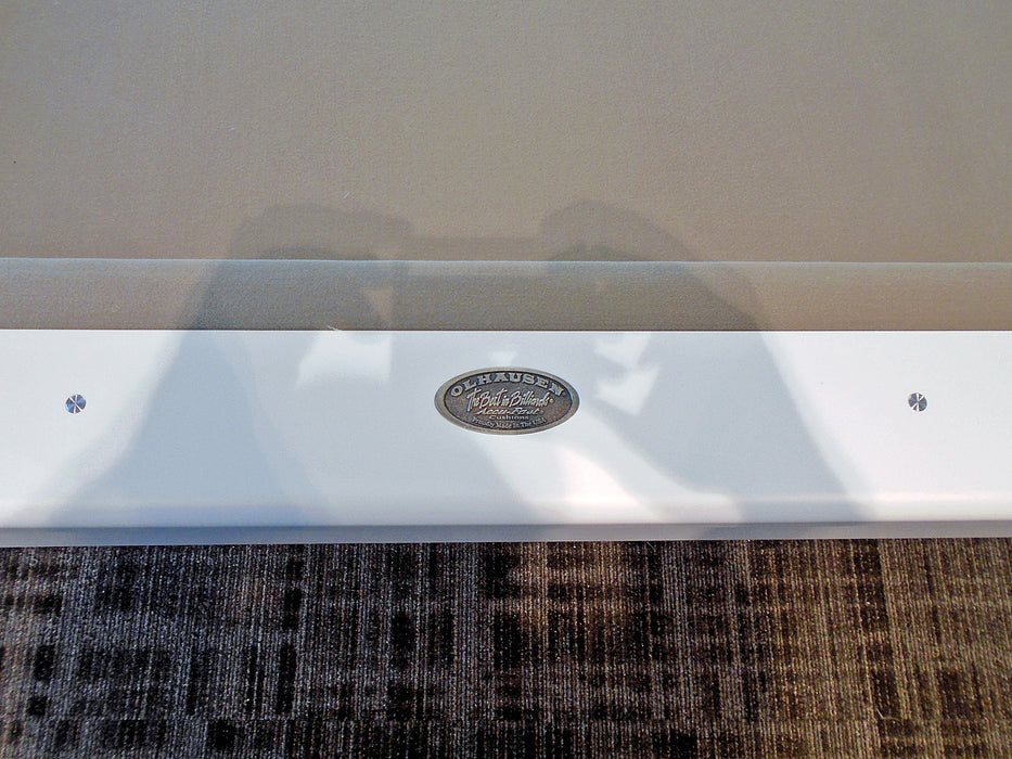 olhausen waterfall pool table custom white lacquer detail