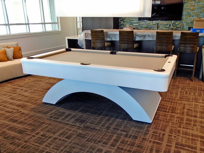 olhausen waterfall pool table custom white lacquer side