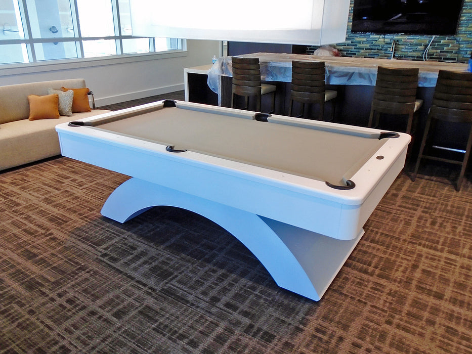 olhausen waterfall pool table custom white lacquer