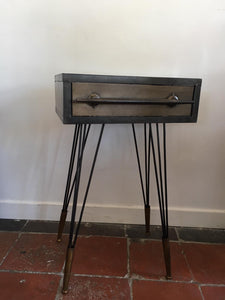 Design led side table with drawer and hairpin legs. SOLD   available in january 2021