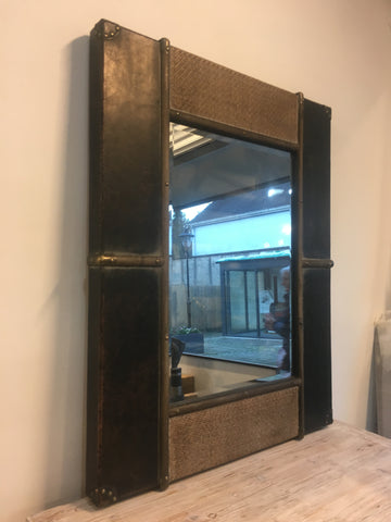 Large vintage style mirror with bevelled glass