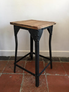 Industrial style metal and wood stool / table.