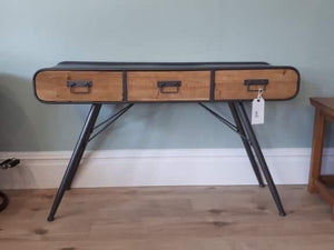 Stylish Industrial Style Desk /Side Table with Wooden Drawers.
