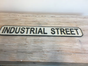 Industrial street cast iron sign