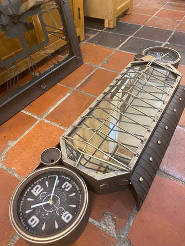 Retro car grille style clock and mirror